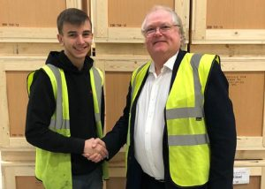 Apprentice Ben Scully and Chairman Lord Digby Jones